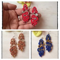 """Soutache earrings """"MissColor"""" . Kolczyki sutasz 😊  kolorowe i zakręcone"""