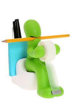 I need one of these... Isn't this really unusual, a pen, pencil, post-it-notes and tape holder!!