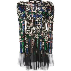 Elie Saab     Sleeveless Bead Embroidered Dress (435,340 DOP) ❤ liked on Polyvore featuring dresses, black, broderie dress, elie saab, sequin dresses, sequin sleeve dress and round neck dress