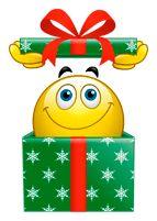 Christmas smiley, Gift smiley, Christmas smiley, gift smiley, surprise smiley