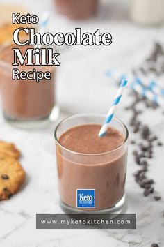 This easy Keto Chocolate Milk recipe is quick and easy to make. It's a great drink to quench any sweet cravings and it's completely sugar free. This dairy-free, low carb drink is a great after school snack for kids. Serve it with your favorite keto cookies. Shake Recipes, Milk Recipes, Low Carb Recipes, Free Recipes, Healthy Recipes, Chocolate Shake, Low Carb Chocolate, Low Carb Shakes, Sugar Free Drinks