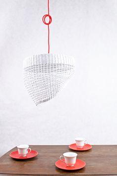 White hanging eco lamp Geometric original simple shape Light paper pendant lamp Decorative ceiling light Nordic Scandinavian style - Oslo by Barborka Design.