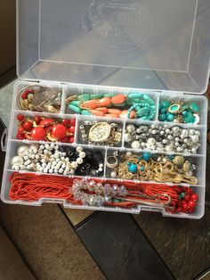 Jewelry packing simplified! Basic fishing tackle box customized to fit all of your jewels. Even my longest necklaces fit... Wish I could take credit for this genius idea!