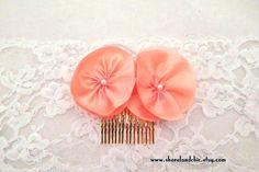 Peach hair comb peach wedding hair comb peach by ShorelandChic
