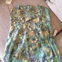 HOST PICKF21 Strapless Dress Super cute strapless dress with ruffle bodice. Colors are sage green with yellow and grey. Super cute and great for a tea party or just a day out.❌price firm ❌ Forever 21 Dresses Strapless