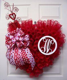 Valentine Wreath,Mesh Wreath,Initial Valentine Wreath,Heart Wreath,Valentine's Day Wreath,Valentine's Day Gift by CherylsCrafts1 on Etsy