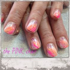 Bright pink and orange for summer gel nail