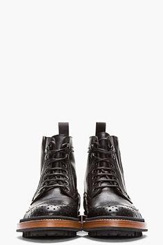 LANVIN Black Leather Brogue Boots #riccardomorini