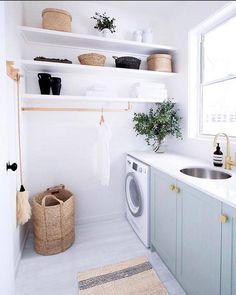 Laundry Decor, Laundry Room Design, Laundry In Bathroom, Laundry Tips, Laundry Closet, Simple Bathroom, Bathroom Ideas, Laundry Room Cabinets, Laundry Room Organization