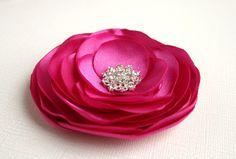 Pink Flower Wedding Accessory - Fuschia Flower Hair Clip - Hot Pink Hair Piece - Bridal Hair Accessory. $15.00, via Etsy.