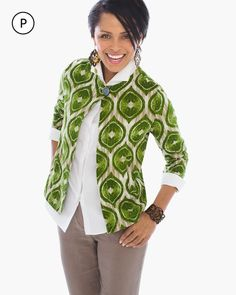 697f4945380 Chico s Women s Petite Modern Ikat-Printed Linen Jacket