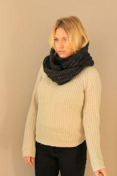 Charcoal Chunky Crochet Infinity Scarf. Fall Scarves Handmade. Miyuki Crochet Montreal
