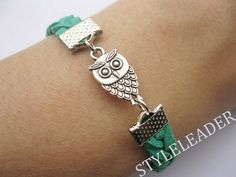 Bracelet-antique silver owl bracelet,owl braid bracelet