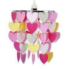 Modern Girls Bedroom Pink Red White Hearts Ceiling Light Shade Pendant Lampshade 10pound
