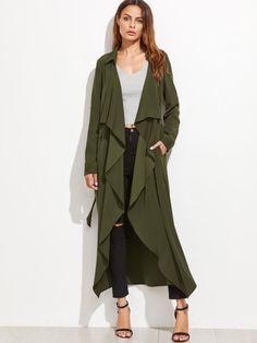Shirts & Tops, Army Green Jacket Outfit, Long White Coat, Green Kimono, Kimono Outfit, Langer Mantel, Jeans Rock, Wrap Coat, Green Coat