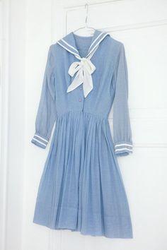 1950's vintage summer pin up blue sailor dress | Vintage Sailor ...