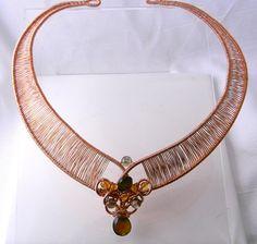 Egyptian Queen woven copper slave collar by MockingbirdLaneWire, $175.00