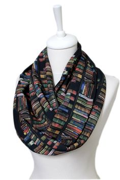 Bookshelf Scarf Infinity Scarf Book Print Scarf Librarian Scarf Geek Gift For Her Girlfriend Gift Ideas Unique Autumn Fashion Back to School by Aslidesign on Etsy https://www.etsy.com/uk/listing/256923542/bookshelf-scarf-infinity-scarf-book