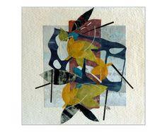 Original artwork paper collage nature inspired art by catchaleaf