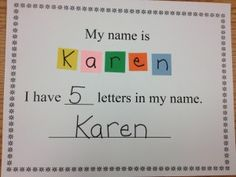 Name writing practice and practice with counting letters in your name.  (letters versus words!)  Free printable too!
