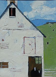 """White Barn Day by Dinah Worman Oil ~ 12"""" x 9"""""""
