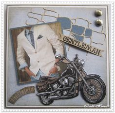denne gang til en med motorcykel Há en god dag Masculine Birthday Cards, Birthday Cards For Men, Man Birthday, Masculine Cards, Just For Men, Marianne Design, Stone Art, Diy Cards, Cardmaking