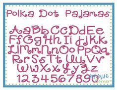 Polka dot pajamas font