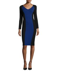 Armani Collezioni colorblock compact jersey sheath dress. Wide V neckline. Long sleeves. Nipped-in natural waist. Straight skirt and hem. Fitted silhouette. Full length back zip. Viscose/nylon/spandex