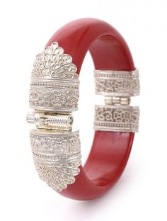 Red Hinged Opening Silver Bangle with Floral Motif (Bangle Size Silver Jewellery Online, Silver Jewellery Indian, Silver Jewelry, Silver Bracelets For Women, Silver Bangles, Silver Ring, Gold Bangles Design, Jewelry Design, Gold Fashion