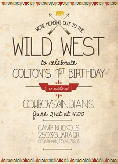 Cowboys and Indians Birthday Invitation by DoodleDogCreative. Boy party theme, boy party invitation, cowboys and indians, wild west theme  https://www.etsy.com/shop/DoodleDogCreative www.doodledogcreative.com