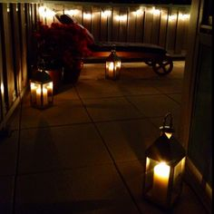 New lanterns with candles on the terrace!  Love it!