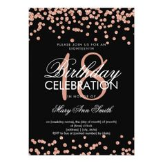 Elegant 18th Birthday Rose Gold Glitter Confetti Card - glitter glamour brilliance sparkle design idea diy elegant