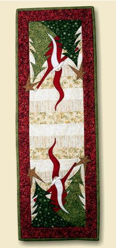 Christmas table runner-no pattern, but love the tall curved hat & beard on Santa, Idea only