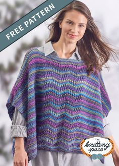 Shape this gorgeous knitted lace poncho with radiant stripes as a handmade present for your loved ones. Jazz up your spring closet with this colorful addition. | Discover over 4,500 free knitting patterns at theknittingspace.com #knitpatternsfree #easyknittingpatterns #beginnerknits Poncho Knitting Patterns, Knitted Poncho, Free Knitting, Crochet Top, Free Pattern, Warm And Cozy, Lace, Stripes, Colorful