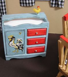 Miniature Dollhouse Furniture-Dry Sink with hand painted Rooster by Janet Peters