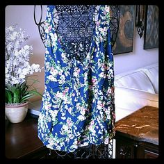 Summer Print Tank with Crochet Back Misses size large. Blue pink and green delicate floral. So cute. Like New. Tops Tank Tops