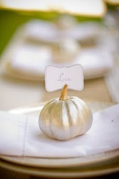 DIY metallic pumpkin place cards via Jenny Steffens Hobick: Photos by Claire Ryser of Visionaire Studios