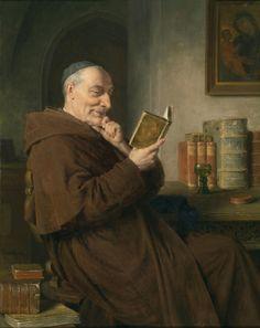Eduard Grutzner 1846-1925 Lesender Monch mit Weinglas