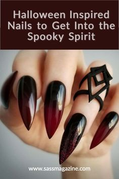 Summer Stiletto Nails, Stiletto Nail Art, Acrylic Nails, Gradient Nails, Galaxy Nails, Halloween Nail Designs, Halloween Nail Art, Halloween Ideas, Halloween Season