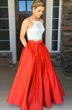 24adfcdba1c Two Piece Halter Floor-Length Red Satin Sleeveless Prom Dress with Lace  Pockets