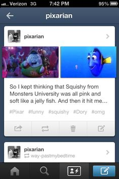 Pixar. Disney. Funny tumblr. Finding Nemo. Monsters university. OMG I figured it out