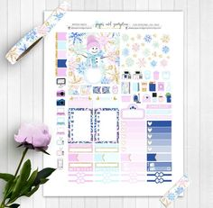 WINTER MAGIC Printable Planner Stickers/Weekly kit/for use