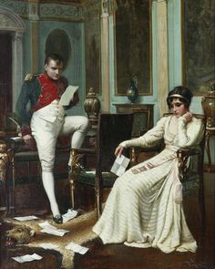 """Napoleon and Josephine. Harold H. Piffard (British, active 1895-1899). Oil on canvas. """"What is extraordinary is that in this passion we have Napoleon's letters to Josephine that she kept, but we don't have her letters to Napoleon. So either he didn't keep them and that would make his passion a little more lukewarm in a way or maybe Josephine didn't write to him or would write just very neutral letters. The latter version is the one I would adopt."""" — Tulard"""