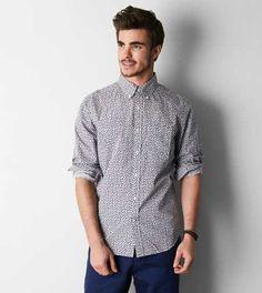 AEO Printed Button Down Shirt