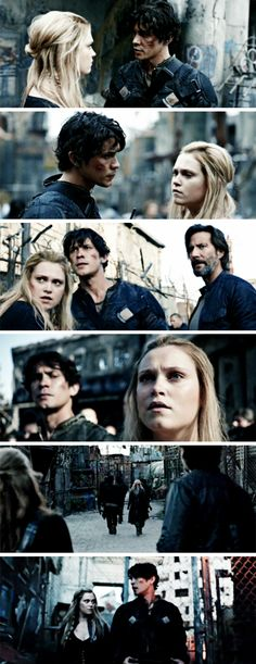 """#The100 4x01 """"Echoes"""" - """"Okay, Princess. What now? Now we survive."""" - #ClarkeGriffin #BellamyBlake"""