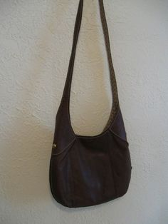 Fossil Brown Soft Leather Shoulder Hobo Purse bag with wood brass Key