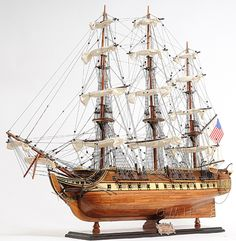 This Handcrafted Fully Assembled Wooden USS Constitution 1798 Old Ironsides Wood Tall Ship Model Ships For Free! Scale Model Ships, Old Sailing Ships, Uss Constitution, Wooden Ship, Tall Ships, Model Building, Battleship, History, Photos