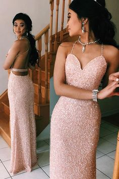 Sparkling Sequined Prom Dress With Open Back BUKPYA2BZT1