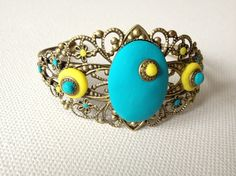 bracelet chic filigrane bronze, cabochon turquoise et jaune fimo
