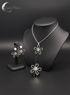 Items similar to Silver Spring - Silver Jewellery Set Infinity Pendant, Silver Spring, Silver Jewellery, Chokers, Pendant Necklace, Silver Flowers, Sterling Silver, Awesome, Unique Jewelry